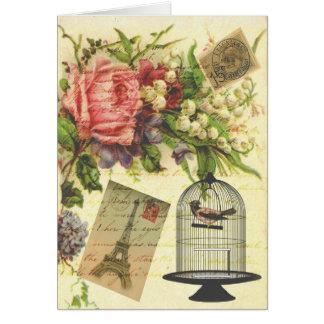 Beautiful girly vintage roses flowers Eiffel Tower Greeting Card