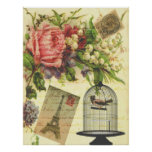 Beautiful girly vintage roses flowers Eiffel Tower Poster