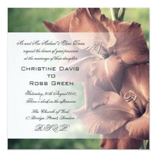 "Beautiful gladiola wedding invitation 5.25"" square invitation card"