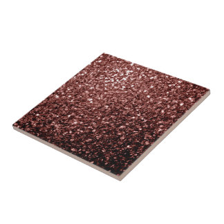 Beautiful Glam Brown Red Glitter sparkles Ceramic Tile