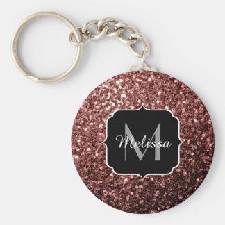 Beautiful Glam Brown Red Glitter sparkles Monogram Keychain