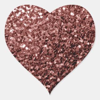 Beautiful Glam Marsala Brown-Red Glitter sparkles Heart Sticker