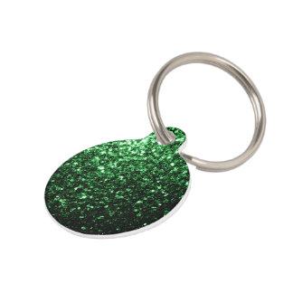 Beautiful Glamour Dark Green glitter sparkles Pet Name Tag