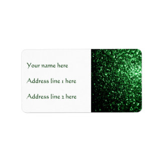 Beautiful Glamour Green glitter sparkles Address Label