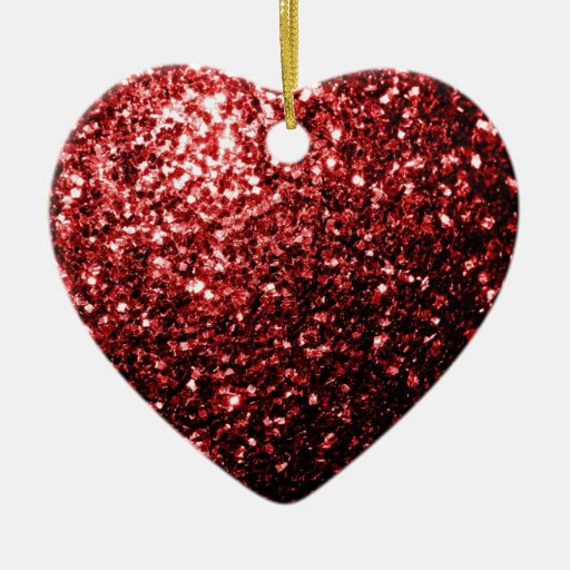 Beautiful Glamour Red Glitter sparkles Double-Sided Heart Ceramic Christmas Ornament