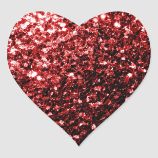Beautiful Glamour Red Glitter sparkles Heart Sticker