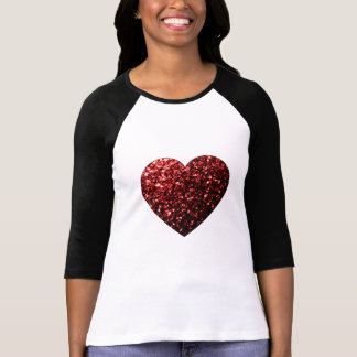 Beautiful Glamour Red Glitter sparkles Heart T-Shirt