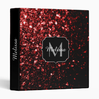 Beautiful Glamour Red Glitter sparkles Monogram Binder