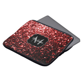 Beautiful Glamour Red Glitter sparkles Monogram Laptop Sleeve