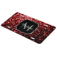 Beautiful Glamour Red Glitter Sparkles Monogram License Plate at Zazzle