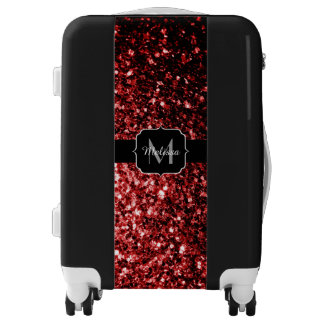 Beautiful Glamour Red Glitter sparkles Monogram Luggage