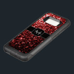 """Beautiful Glamour Red Glitter sparkles Monogram OtterBox Commuter Samsung Galaxy S8 Case<br><div class=""""desc"""">Personalize with your initial and name. Trendy OtterBox phone case: Beautiful glamorous red shiny glitters sparkles. Photo of Red sparkles not actual glitter!</div>"""