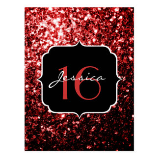 Beautiful Glamour Red Glitter sparkles Sweet 16 Postcard