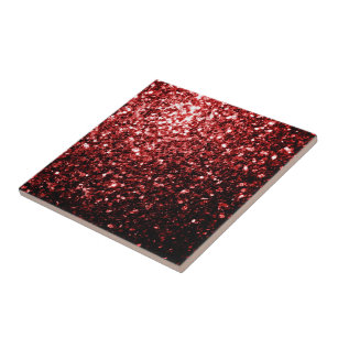 Beautiful Glamour Red Glitter Sparkles Tile