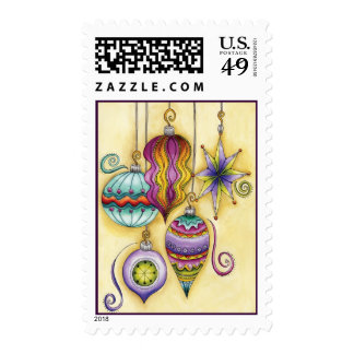 Beautiful Glass Colorful Christmas Ornaments Postage