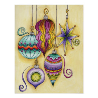 Beautiful Glass Colorful Christmas Ornaments Poster