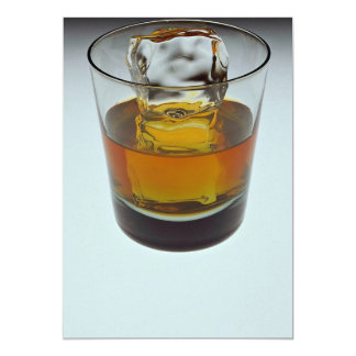 Beautiful glass filled with Scotch and ice cube 5x7 Paper Invitation Card
