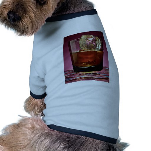 Beautiful glass filled with Whiskey and ice cube Dog T-shirt