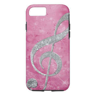 Beautiful glittery effect silver treble clef iPhone 8/7 case
