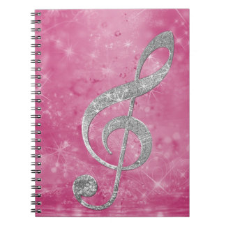Beautiful glittery effect silver treble clef notebook