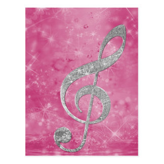 Beautiful glittery effect silver treble clef postcard