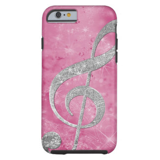 Beautiful glittery effect silver treble clef tough iPhone 6 case