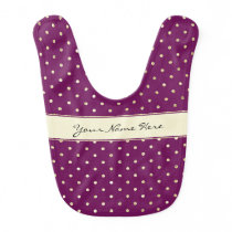 Beautiful Glittery Gold Polka Dots on Purple Baby Bib