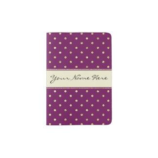 Beautiful Glittery Gold Polka Dots on Purple Passport Holder