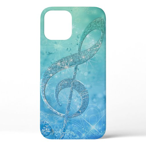 Beautiful glittery shining effect blue treble clef iPhone 12 case