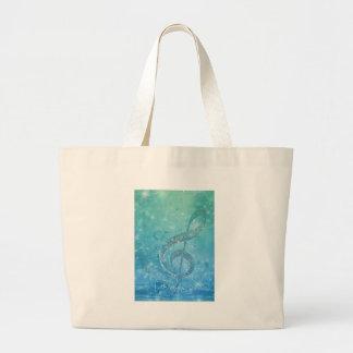 Beautiful glittery shining effect blue treble clef large tote bag
