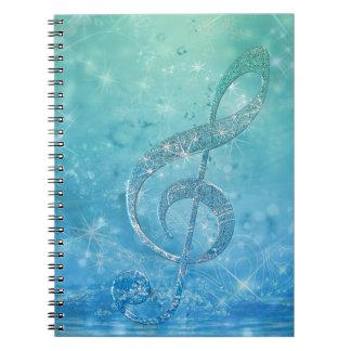 Beautiful glittery shining effect blue treble clef spiral notebook