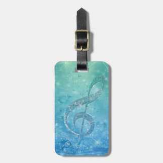 Beautiful glittery shining effect blue treble clef tags for bags