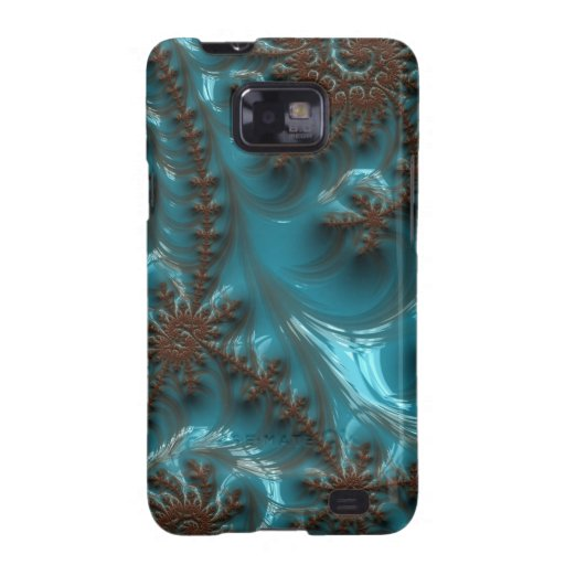 Beautiful Glossy Turquoise Brown Fractal Art Galaxy SII Cover