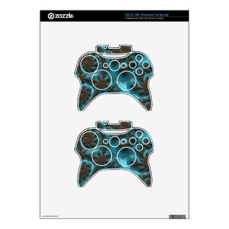 Beautiful Glossy Turquoise Brown Fractal Art Xbox 360 Controller Decal