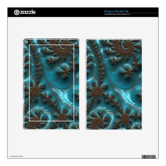 Beautiful Glossy Turquoise Brown Fractal Art Kindle Fire Skin