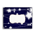 Beautiful Glowing Stars Blue Christmas Envelopes