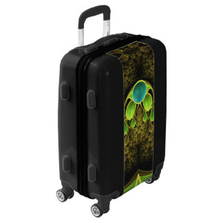 Beautiful Gold and Green Fractal Peacock Feathers Luggage