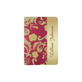 Beautiful Gold and Red Passport Holder