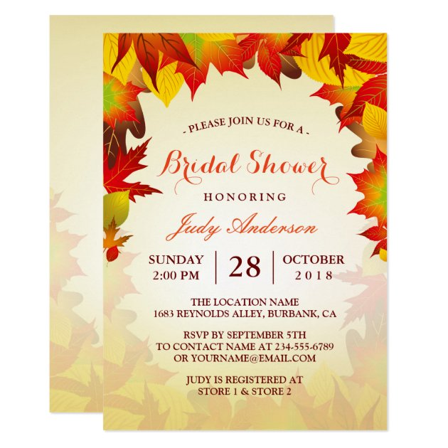 Beautiful Gold Autumn Fall Leaves | Bridal Shower Card