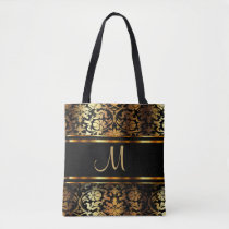 Beautiful Gold & Black Damask Design Tote Bag