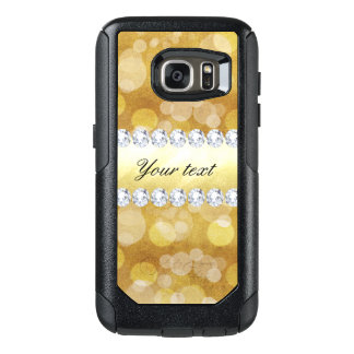 Beautiful Gold Bokeh Foil and Diamonds OtterBox Samsung Galaxy S7 Case