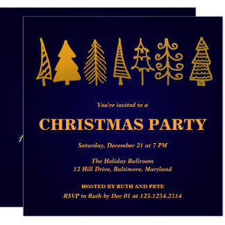 Beautiful Gold Christmas Tree Party Blue Card
