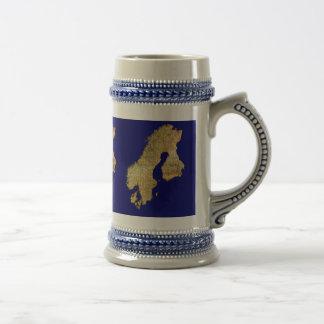 Beautiful Gold-effect Scandinavia Map Gift 18 Oz Beer Stein