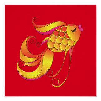 Beautiful Gold Fish Poster
