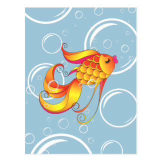 Beautiful Gold Fish (with bubbles background) Postcard