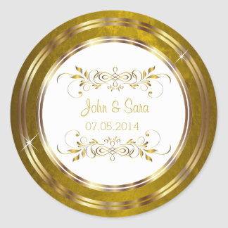 Beautiful Gold Foil Outline Wedding Classic Round Sticker