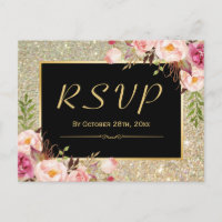 Beautiful Gold Glitter Floral RSVP Response Invitation Postcard