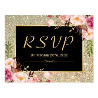 Beautiful Gold Glitter Floral RSVP Response Postcard