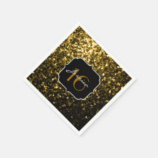 Beautiful Gold glitter sparkles Sweet 16 napkin