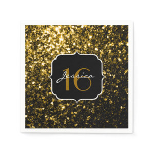 Beautiful Gold glitter sparkles napkin Standard Cocktail Napkin